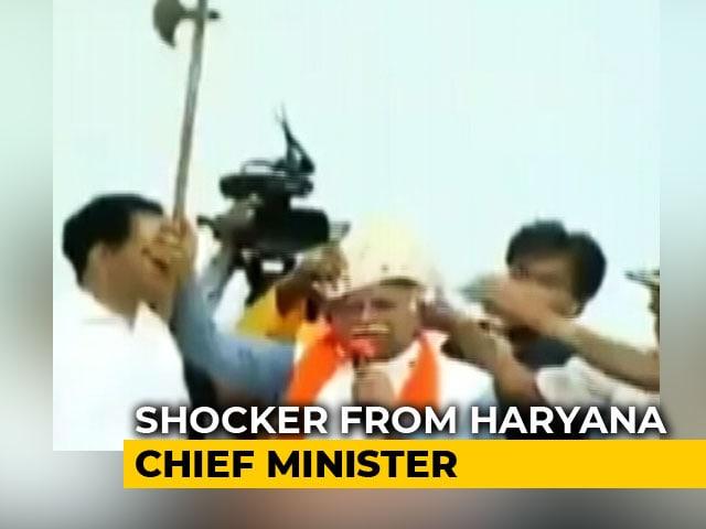 """Video : ML Khattar Threatens To Cut Off Aide's Head, Blames """"Congress Culture"""""""