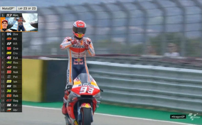 Marc Marquez started on pole and dominated the Aragon GP to win with a lead of over 4s