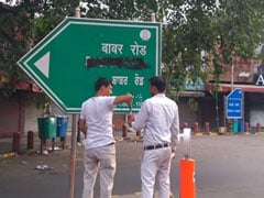 Babar Road Sign In Delhi's High-Security Zone Blackened By Hindu Sena
