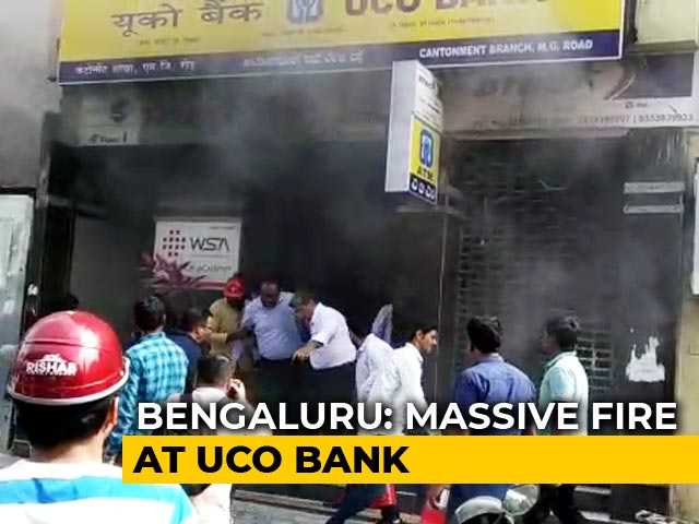 Video : Major Fire At Bank In Bengaluru, People Try To Jump Off Building