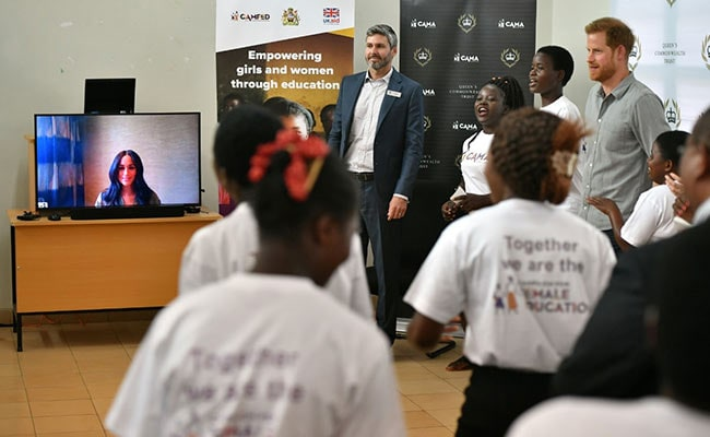 Britain's Prince Harry Visits Malawi College, Wife Meghan Joins Via Video Call