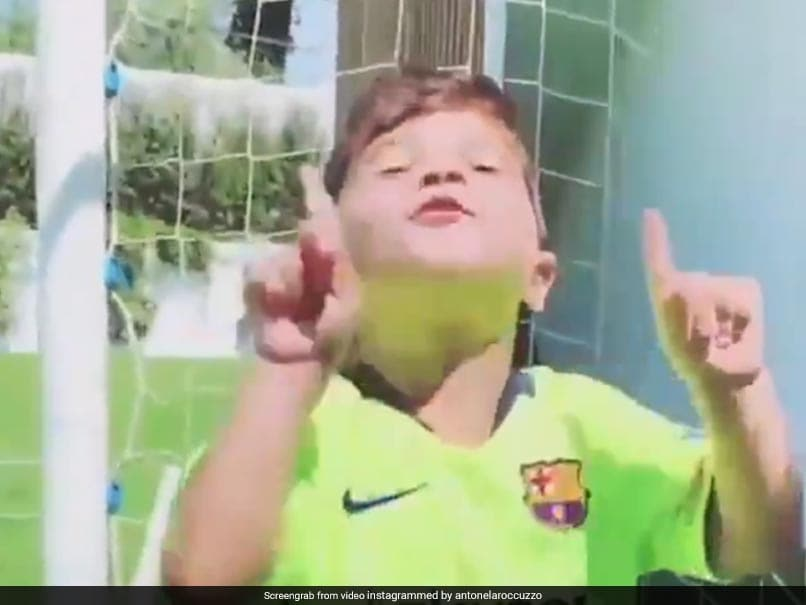 Watch: Mateo Messi Mimicking Fathers Iconic Goal Celebration Is Breaking The Internet