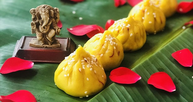 Saffron and Sesame Modak