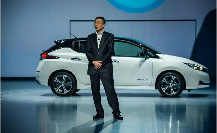 Hiroto Saikawa - Chief Executive, Nissan at the global premiere of the new Nissan Leaf in 2017