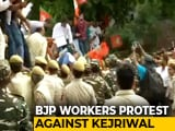 Video : BJP Protest Outside Arvind Kejriwal's Home Over NRC Dig At Manoj Tiwari