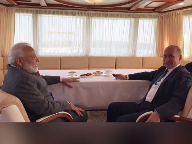 "Video : PM Modi, Putin Spend ""Quality Time Together"" On Ship In Russia"