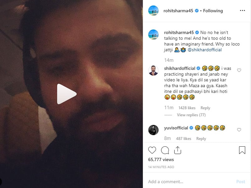 Shikhar Dhawan was doing poetry practice and Rohit Sharma...VIDEO