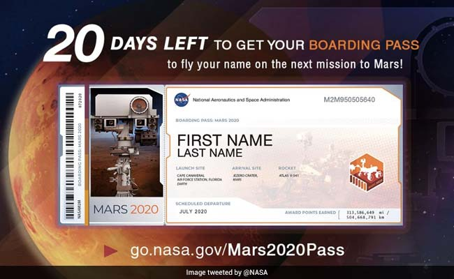 You Can Fly Your Name To Mars. NASA Is Giving Out Boarding Passes