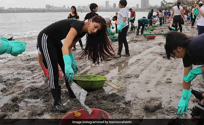 Image result for nora fatehi mahim beach clean