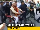 "Video : ""Wanted To Travel Like A Common Man"": ML Khattar Takes Train, Then Cycles To Poll Station"