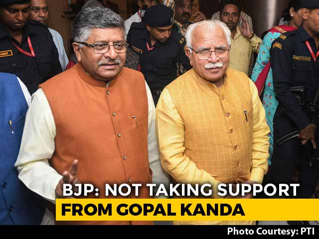 "Video : ""BJP Will Not Take Support From Gopal Kanda"": Ravi Shankar Prasad"
