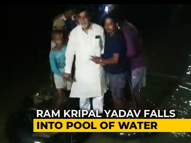 Video : BJP MP Falls Into Water While Inspecting Flood-Affected Patna