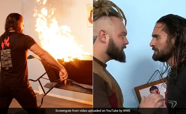 WWE में सेथ रोलिंस ने लगाई दुश्मन के 'घर' में आग, मुक्के मार-मारकर उतारा गुस्सा, देखें VIDEO