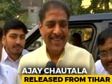 Video : Ahead of Son Dushyant Chautala's Oath, Ajay Chautala Walks Out Of Tihar