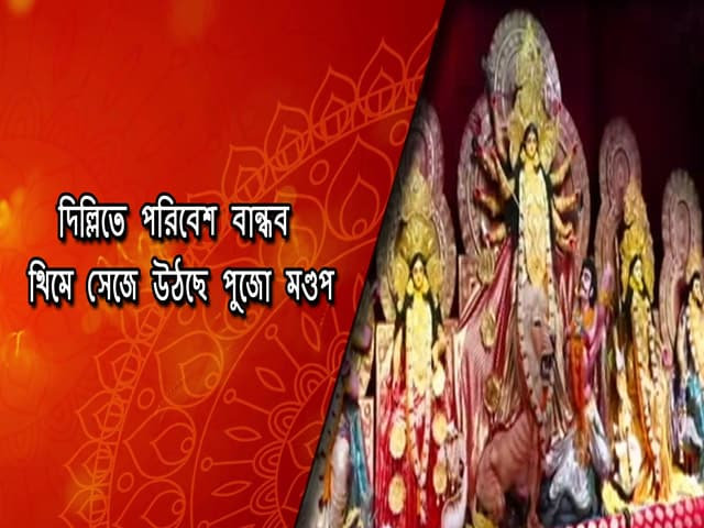 Video : দিল্লিতে পরিবেশ বান্ধব থিমে সেজে উঠছে পুজো মণ্ডপ