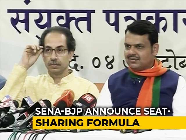 Video : Sena To Contest 124 Of 288 Maharashtra Seats, 164 For BJP, Smaller Allies