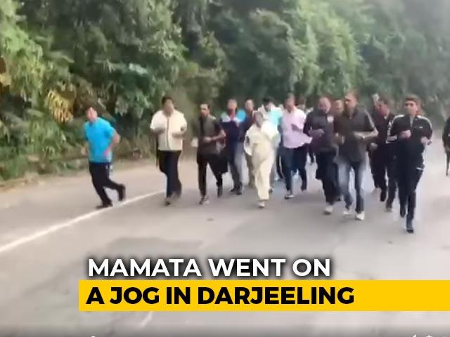 Video : Watch: Mamata Banerjee Jogs 10 km With Entourage In Hills Of Darjeeling