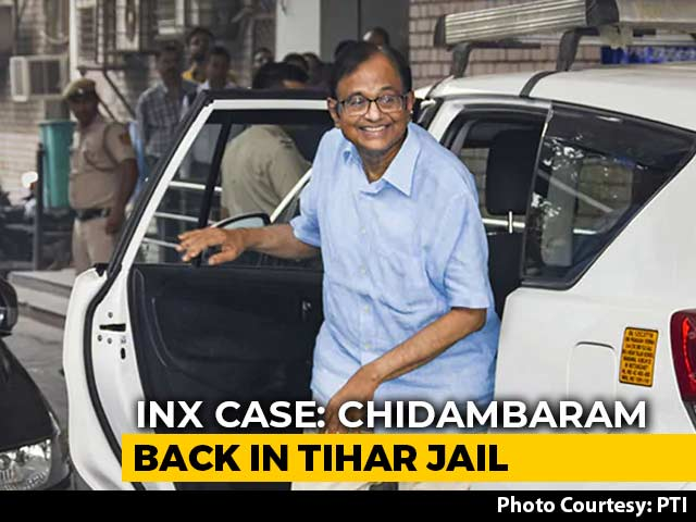 Video : P Chidambaram Back In Tihar Jail, Court Rejects Probe Agency's Request