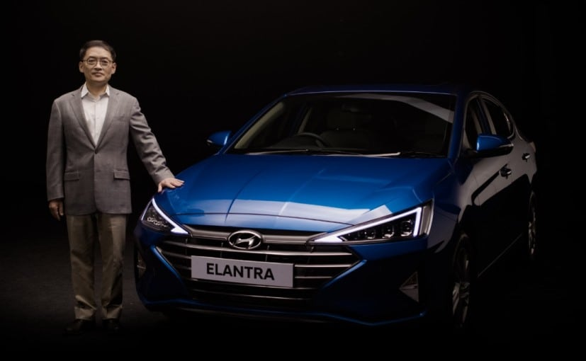 S S Kim, MD & CEO, Hyundai India with the newly launched Hyundai Elantra connected sedan
