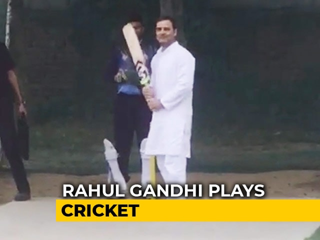 Video : Watch: Rahul Gandhi Plays Cricket As Chopper Forced To Land In Haryana