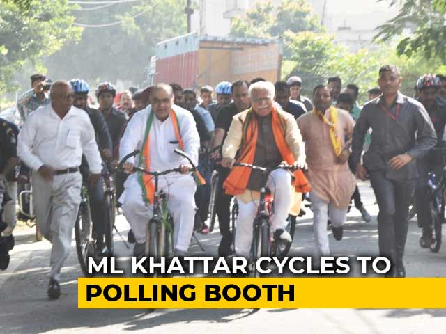 'Wanted To Travel Like A Common Man': ML Khattar Takes Train, Then Cycles To Poll Station