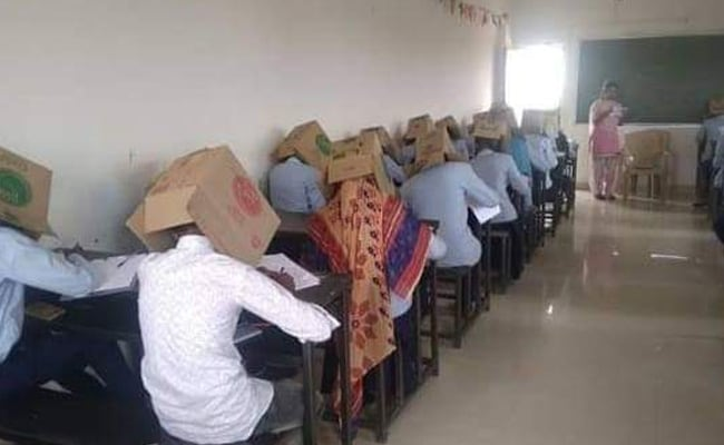 Karnataka Students Made To Wear Cartons To Stop Them From Cheating