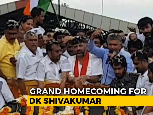 Video : Karnataka Congress's Grand Homecoming For DK Shivakumar, Out On Bail