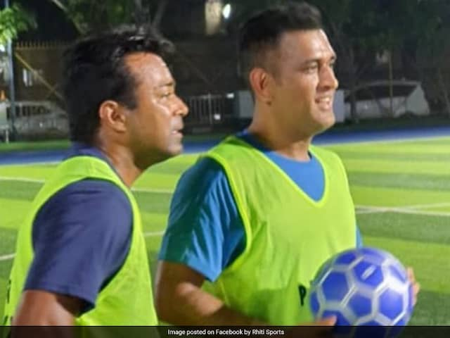 MS Dhoni, Leander Paes Participate In Charity Football Match In Mumbai. See Pics