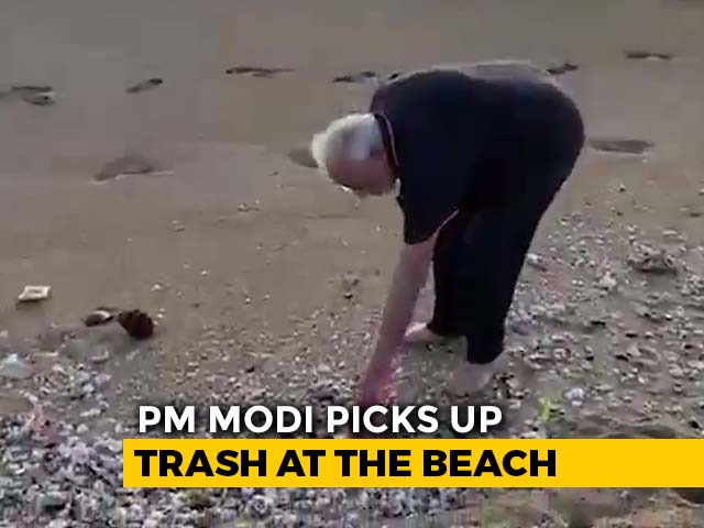 Video : Watch: PM Modi Goes Plogging On Mamallapuram Beach Before Meet With Xi
