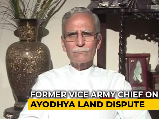 """Video : """"An Out Of Court Settlement Would Be The Best"""": Lt Gen Zameer Uddin Shah On Ayodhya Case"""