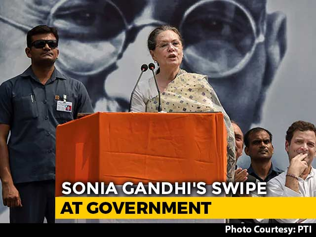 "Video : ""Mahatma's Soul Would Be Pained"": Sonia Gandhi's Swipe At Government"