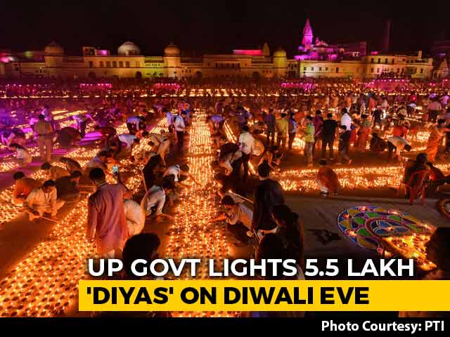 Video : New Record As Nearly 6 Lakh <i>Diyas</i> Lit Up In Ayodhya