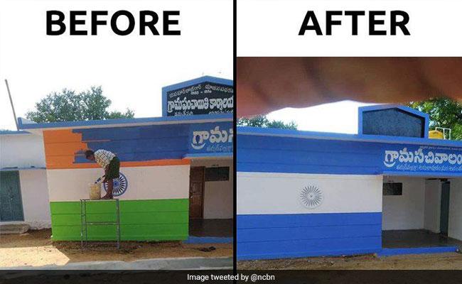 BJP Protests As YSR Congress Paints Andhra Secretariats In Party Colours