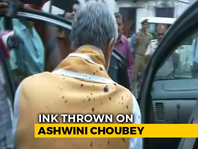 Video : Ink Attack On Union Minister Ashwini Choubey At Patna Hospital