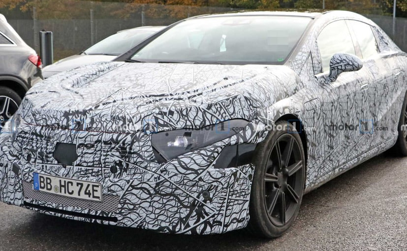 Image result for Mercedes EQS Spied Wearing Heavy Camouflage And Concealment Panels