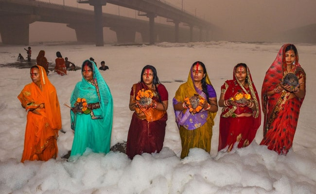 Devotees Stand Knee-Deep In Toxic Foam In Delhi's Yamuna For Chhath Puja