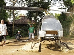 Indonesia Man's Solution To Beat The Traffic - A Homemade Helicopter