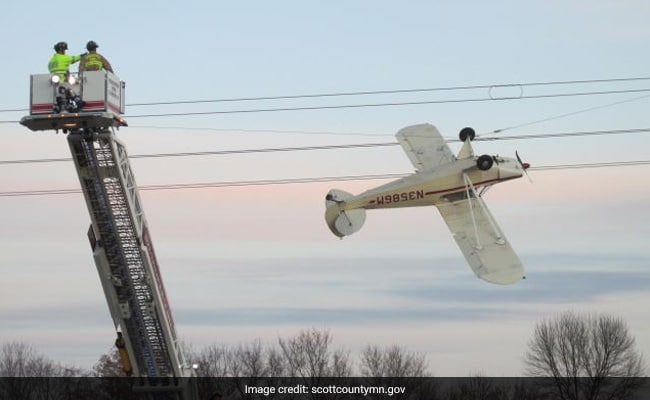 Pilot Rescued After Plane Gets Entangled In High-Voltage Power Lines