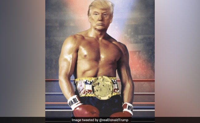 Donald Trump tweets photo of himself as Rocky Balboa in the ring
