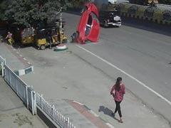 On Camera, Speeding Car Skids Off Hyderabad Flyover, Crashes, Kills 1