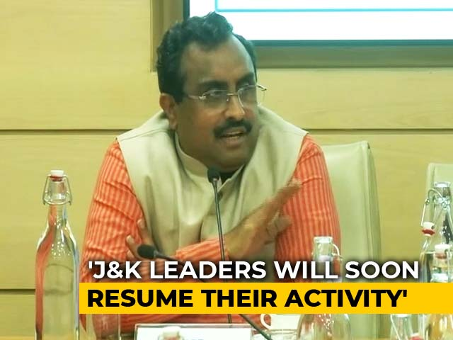 Video : Political Engagements Should Resume In Kashmir Sooner Than Later: Ram Madhav