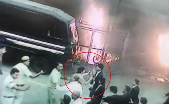Lawyers Mob Woman Police Officer During Clash At Delhi Court In New Video