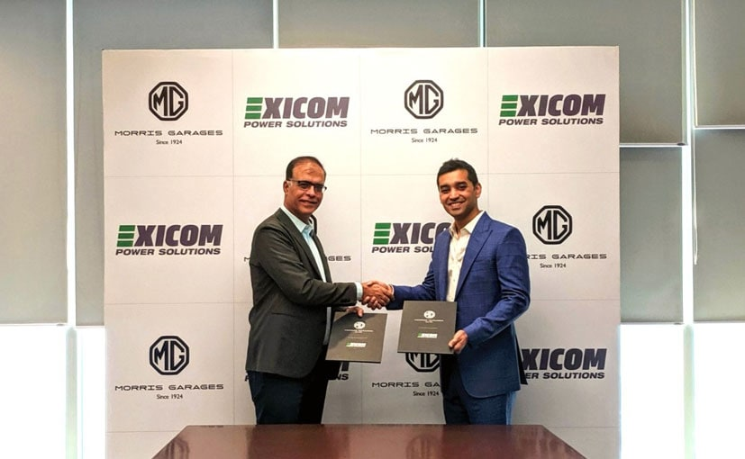 Rajeev Chaba, MD, MG Motor India & Anant Nahata, MD, Exicom singed the deal