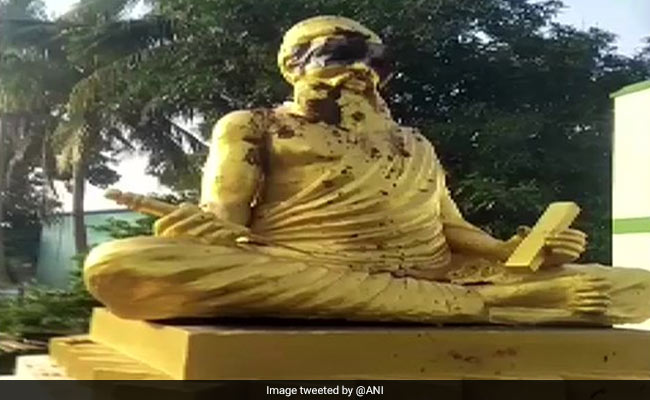 Tamil Poet's Statue Draped In Saffron Shawl Days After It Was Desecrated
