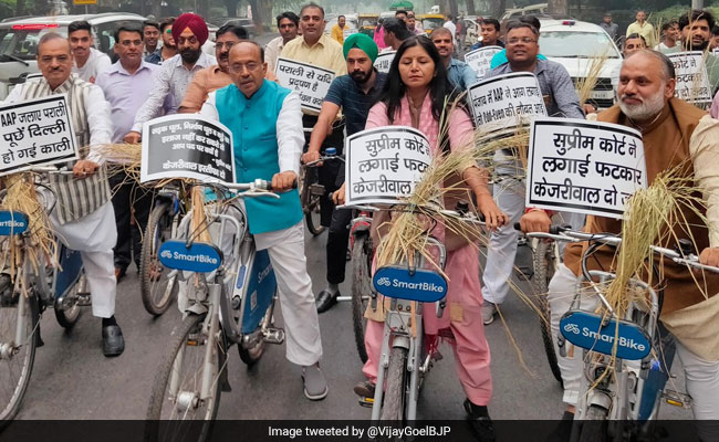BJP Leaders Carry Crop Residue On Cycles In Protest Against Stubble Burning