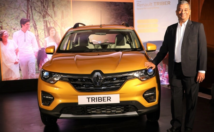 Venkatram Mamillapalle MD & CEO Renault India with the Renault Triber