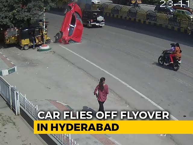 Video : On Camera, Speeding Car Skids Off Hyderabad Flyover, Crashes, Kills 1