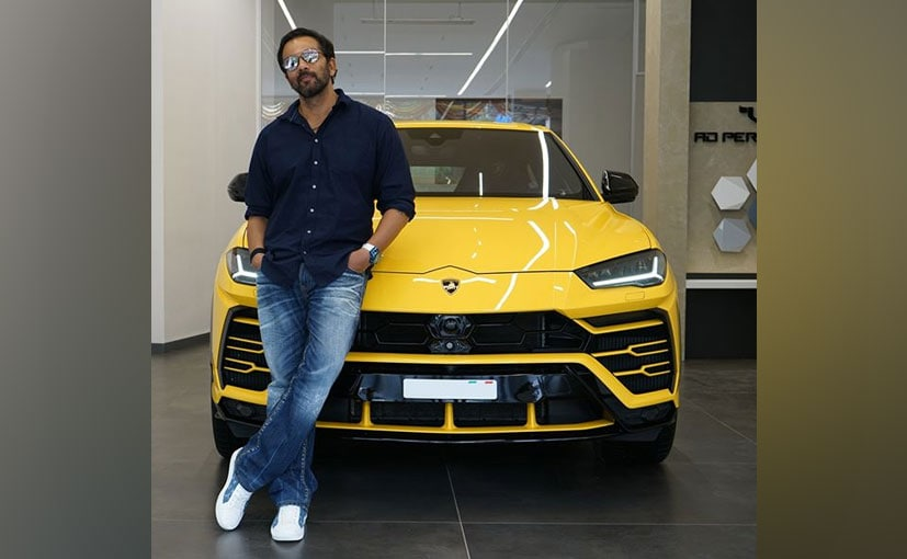 Director Rohit Shetty snapped with his new Lamborghini Urus at the Mumbai dealership
