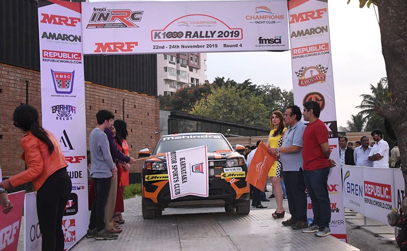 Gaurav Gill and Musa Sherif being flagged off for the K-1000 Rally that starts from Bangalore tomorrow