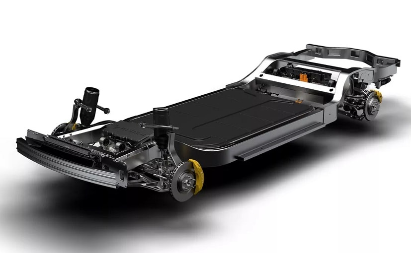 The custom electrified chassis that resembles a skateboard, was developed by Ford-backed startup Rivian
